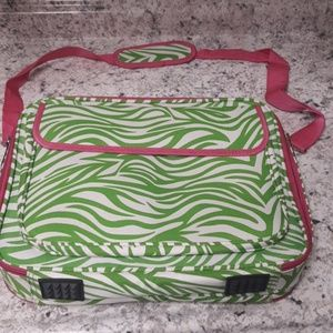 Green and Pink Lap Top Briefcase.